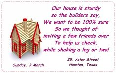 The Most Pleasantly Perfect Housewarming Invitation Wordings Ever - Party Joys Housewarming Invitation Wording, Housewarming Card, House Warming Ceremony, Looking For Houses, How To Get Warm, Good Company, Invitation Cards, Invites, Best Part Of Me