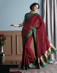 Red Saree Resham & Sequins Embroidery