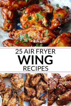 Try these amazing and easy air fryer wings recipes for your next wing night! These incredible and mouth watering wings are made in the air fryer and covered in incredible sauces. wings in air fryer Air Fryer Wings Recipes Air Fryer Recipes Breakfast, Air Fryer Dinner Recipes, Air Fryer Oven Recipes, Air Fryer Recipes Wings, Yummy Recipes For Dinner, Air Fryer Recipes Appetizers, Air Fryer Wings, Air Fryer Chicken Wings, Chicken Wing Sauces