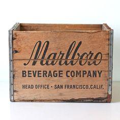 Vintage Marlboro Beverage Company Wooden Crate.  by bellalulu on etsy