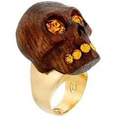 Alexander McQueen Wood Skull Ring ($380) ❤ liked on Polyvore