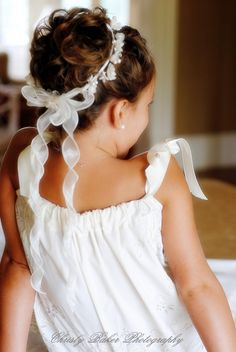 Flowergirl hair 3 – updo with ribbon.,Flowergirl hair 3 – updo with ribbon. Essentially the m… - Modern Flower Girl Updo, Flower Crown Hairstyle, Flower Girl Hairstyles, Cute Hairstyles, Wedding Hairstyles, Flower Girl Dresses, Flower Girls, Bridesmaid Hairstyles, Bridesmaid Hair Half Up
