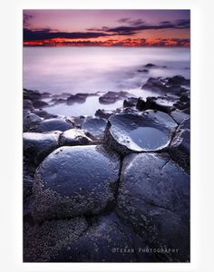 Ireland Photography- Giants Causeway, Sunset on an Ancient Basaltic Landscape, Northern Ireland, Wall Art- 8x12 Limited Edition Print. $35.00, via Etsy.