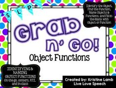 This GRAB N' GO PACK is perfect for students working on Identifying and Naming Object Functions including: Identifying the object, Finding the object, Naming the object, Naming the function, and Fill-in-the-blank with object or function.  Each set of card
