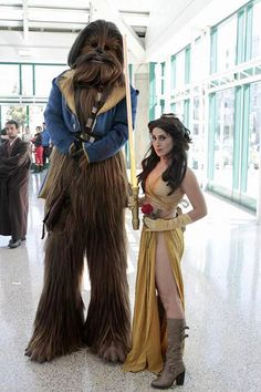 Elizabeth Rage [as Belle - as slave Leia] & Chewy [as Adam - as the Beast] (Mash-Up / Cosplay by ElizabethRage @Facebook) #BeautyAndTheBeast #StarWars