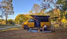 Multivan kitted out by VanEssa mobilcamping with awning,  kitchen, packbags and more.