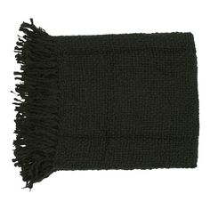 Showcasing a woven design and fringe detail, this chic black throw is stylish draped over your sofa or at the foot of your bed.    Produ...