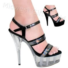"""5"""", 6"""", 7"""" or 8"""" Karo's Black Patent and Silver Hologram Sandal Designer Shoes on a Clear High Heel Platform - Sizes 5-14. #0332   Expertly handcrafted. Ships worldwide. FREE U.S. shipping!"""