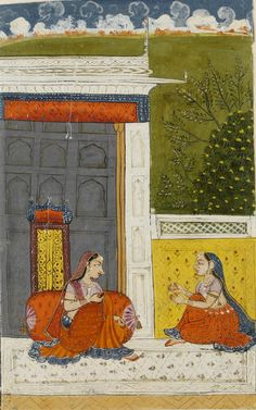 A lovesick lady, seated on a terrace, consoled by a confidant; prositapatika nayika. Bilaspur, ca. 1740