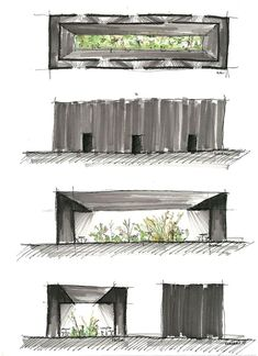 Serpentine Pavilion - Peter Zumthor, sketch by the vuvo bandit London Architecture, Landscape Architecture Design, Architecture Graphics, Architecture Drawings, Sustainable Architecture, Modern Architecture, Ancient Architecture, Pavilion Architecture, Peter Zumthor Architecture