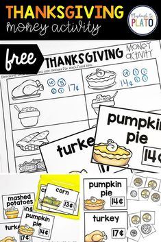 Free Thanksgiving money activity for kids