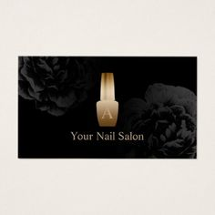 Nail Salon Gold Polish Bottle Elegant Black Floral Business Card - elegant gifts gift ideas custom presents