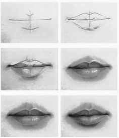 how to draw lips 3 4 view
