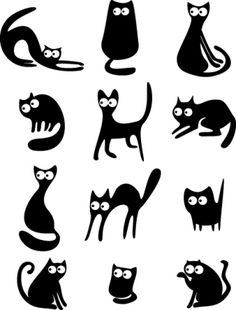 different cats vector illustration
