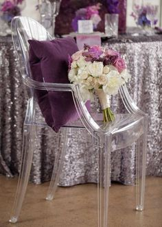 ghost chairs might be good combined with silver sequins