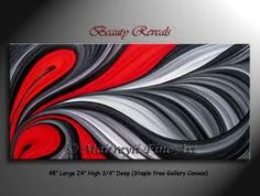 black, red, and white painting for the living room