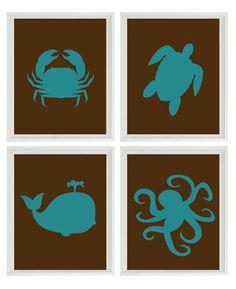 Beach Nautical Nursery Art Print Set - Brown Teal - Sea Creature Ocean - Beach House Bathroom Wall Art Home Decor Set 4 Nautical Art, Nautical Nursery, Nursery Art, Nautical Wedding, Nursery Ideas, Beach House Bathroom, Bathroom Wall Art, Ocean Bathroom, Moroccan Bathroom