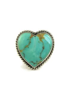 Royston Turquoise Heart Ring Size 7 by Linda Yazzie - Southwest Silver Gallery Turquoise Rings, Turquoise Stone, Silver Rings Handmade, Sterling Silver Rings, Native American Rings, Silver Work, Heart Ring, Gallery, Coral