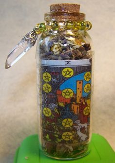 Wealth and Abundance Tarot Charm Bottle by KazanCauldron on Etsy