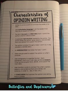 Characteristics of Opinion Writing Notebook Anchor Chart {My Opinion Matters!} Opinion Writing Unit Resources, Rubric, Anchor Charts, Writing Notebook Anchor Charts, Teaching Ideas