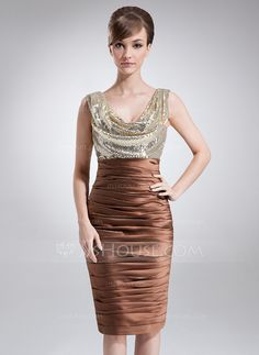 Mother of the Bride Dresses - $136.99 - Sheath Cowl Neck Knee-Length Charmeuse Sequined Mother of the Bride Dress With Ruffle (008006430) http://jjshouse.com/Sheath-Cowl-Neck-Knee-Length-Charmeuse-Sequined-Mother-Of-The-Bride-Dress-With-Ruffle-008006430-g6430?pos=your_recent_history_9