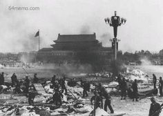Government troops cleaning out Tiananmen Square after the deadly crackdown on student protestors