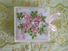 Картина панно рисунок Открытка Упаковка Квиллинг Фиалки и свадебный набор Бумага фото 8