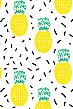 Pineapple Fruit Design by charlottewinter.  Pineapple Yellow with black sprinkles on a white background.  Available on fabric, wallpaper, and gift wrap.