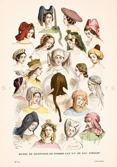 "Beautifully aged antique print of 1800s hand colored fashion lithograph from Augustin Challamel's ""COSTUMES OF PARIS THROUGH THE CENTURIES"", (""COSTUMES DE PARIS A TRAVERS LES SIECLES""). Paris, France (1882).  The natural patina, age-toning, imperfections, and old paper antiquing of this vintage illustration are preserved in this image."