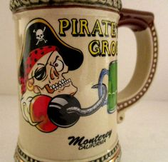"Skull Crossbones Pirate Rum Montery Bay California 3D Ceramic Mug 4-3/4"" Recipe #Unbranded"