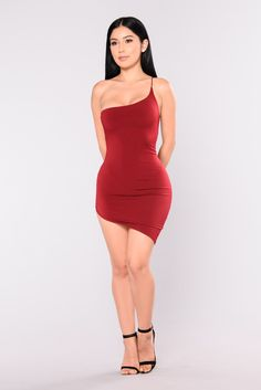 Nubile brunette red dress