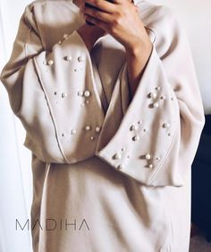 348 Likes, 16 Comments - abayahs Order Contacts, Crepe Fabric, Raincoat, Beige, Pearls, Abayas, Sleeves, Jackets, Instagram