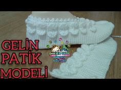 TUNUS İŞİ GELİN PATİĞİ - YouTube Baby Knitting Patterns, Hand Knitting, Crochet Poncho With Sleeves, Knitted Baby Clothes, Elsa, Beanie, Youtube, Tunisian Crochet, Baby Shoes