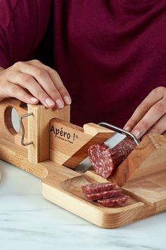Handcrafted in France, this wooden sausage, cheese, veggie, and bread slicer will make your next charcuterie board a cut above. Smart Kitchen, Cool Kitchen Gadgets, Cool Kitchens, Kitchen Stuff, Kitchen Tips, Kitchen Ideas, Charcuterie Gifts, Charcuterie Board, Woodworking Shop