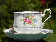 Royal Albert Petit Point Teacup and Saucer, Bone China Tea Cup Made in England J-1605