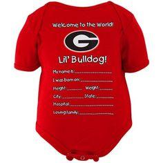 Georgia Bulldogs Newborn Welcome to the World Creeper - Red