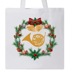 a67c4cf4dca4d French Horn Music Christmas Wreath . Light Weight 6oz 100% Cotton Tote Bag.  14.5