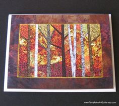 Art Quilt Note Cards Set of 3 Fall Autumn by TerryAskeArtQuilts