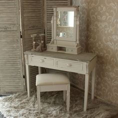 Lyon Range - Cream Dressing Table, Mirror and stool Set