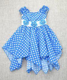 Blue Floral Polka Dot Handkerchief Dress - Toddler & Girls