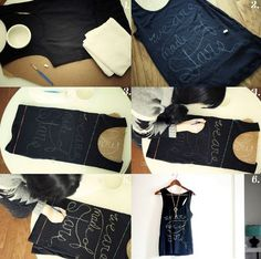 Make your own shirt: first draw something with white chalk, after that draw with bleach.