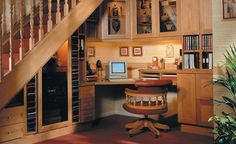Home office under the stairs.