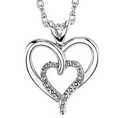Sterling Silver Double Heart with Diamond Pendant and Chain