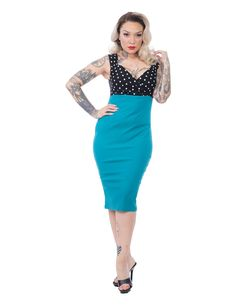 bc3d7b3a54 Spot On Diva Dress in Black and Jade