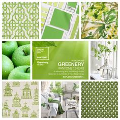 """Pantone has announced it's color of 2017...Greenery! What do you think about the color choice?  Pantone characterizes it as """"a fresh and zesty yellow-green shade that evokes the first days of spring when nature's greens revive, restore and renew.""""  Pindler has a large array of fabric offerings to fit this color!"""