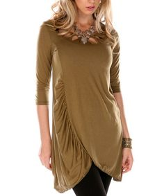 Another great find on #zulily! Olive Cutout Ruched Tunic - Women & Plus by Aster #zulilyfinds