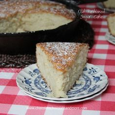 Old Fashioned Sugar Cake-made in a cast iron skillet, no icing needed for this light and flavorful cake! I love my cast iron. Some of it I've had for years. When we used to go camping, there was nothing better than cooking over the fire in my cast iron skillet. Everything tasted…better.  Especially breakfast. Maybe...