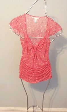 DIANE von FURSTENBERG DVF 100% silk sz S  sheer floral top blouse orange & cream #DianeVonFurstenberg #Blouse