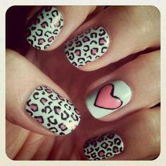 Pink Cheetah Heart  Nails