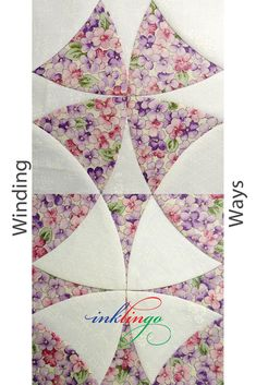 Winding Ways is also called Wheel of Mystery. 3 sizes. When you print the shapes on fabric with Inklingo, no templates are required and you can sew by hand or by machine.  http://lindafranz.com/shop/winding-ways-quilt/20